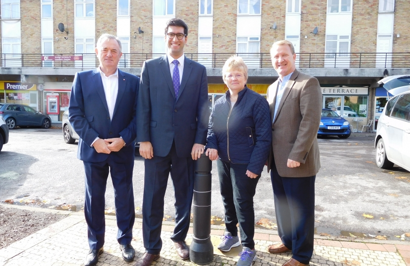 Ranil Jayawardena MP with (left) Hook Cllr Mike Morris and (right) Cllr Jane Worlock, Chairman of Hook Parish Council and Hook Cllr Brian Burchfield
