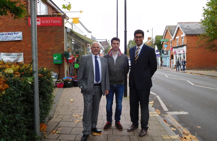 Ranil Jayawardena MP with Fleet Councillors Steve Forster and Alex Gray