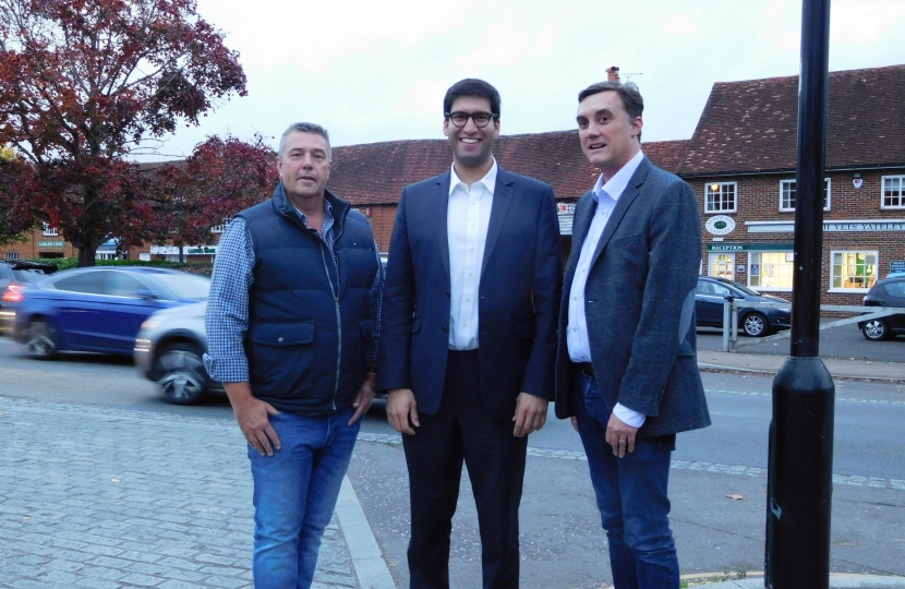 Ranil Jayawardena MP with Yateley Town Councillors Chris Barnes and Shawn Dickens